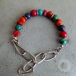 srebro,kolor,łańcuch,surowa,oksydowana,turkus,kora - Bransoletki - Biżuteria