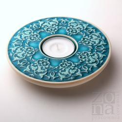 lampion,świecznik,ceramika,turkusowy - Ceramika i szkło - Wyposażenie wnętrz