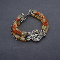 bransoletka,srebrna,z karneolem,słońce - Bransoletki - Biżuteria