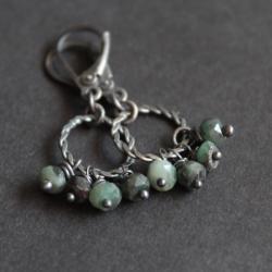 kolczyki,srebro,fado,szmaragd - Kolczyki - Biżuteria