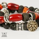 Bransoletki bransoleta,srebro,koral,lawa