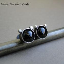 srebro,onyks,myszka miki,sztyfty - Kolczyki - Biżuteria