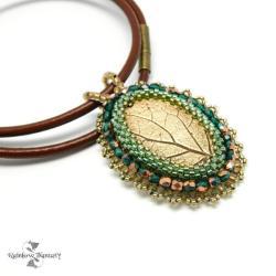 bronze,embroidery,metal,liść,naturalny, - Naszyjniki - Biżuteria