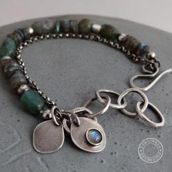 srebro,labradoryt,kianit,oksydowane, - Bransoletki - Biżuteria