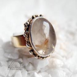 pierścionek regulowany,srebrny,złocony,ozdobny - Pierścionki - Biżuteria