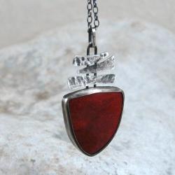 srebrny wisior z koralowcem - Wisiory - Biżuteria