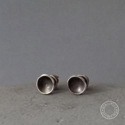 srebro,koło,kółko,surowe,minimaizm,małe,proste - Kolczyki - Biżuteria