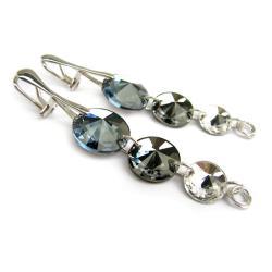 srebrne klipsy Swarovski Denim Silver Night - Klipsy - Biżuteria