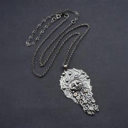 srebrny,naszyjnik,z twarzą,maska,etniczny - Naszyjniki - Biżuteria