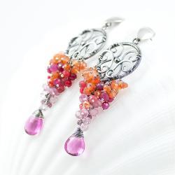 kolczyki. wire-wrapping,srebro,różowe,pomarańcz - Kolczyki - Biżuteria