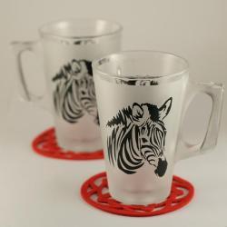 grawerowane,piaskowane,malowane,szklanki,zebra - Ceramika i szkło - Wyposażenie wnętrz