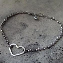 srebro,oksydowane,surowe,metaloplastyka,serce - Bransoletki - Biżuteria