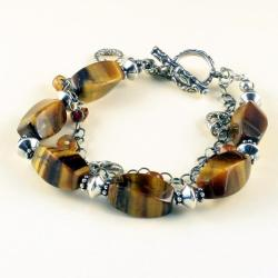 srebrna bransoletka z tygrysim okiem - Bransoletki - Biżuteria
