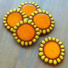 Magnesy na lodówkę słonecznik,kwiaty,bukiet,ceramika,magnesy