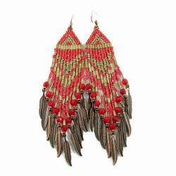 kolczyki indiańskie,boho,koralikowe,długie - Kolczyki - Biżuteria