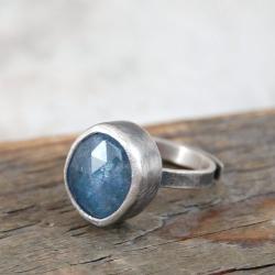 srebrny pierścionek z tanzanitem - Pierścionki - Biżuteria