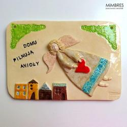 anioł,tabliczka na dom,prezent,mimbres - Ceramika i szkło - Wyposażenie wnętrz