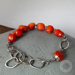srebro,koral,łańcuch,ogniwa,kuta,oksydowana,surowa - Bransoletki - Biżuteria