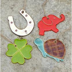 żółw,podkowa,koniczynka,słonik,zawieszki - Ceramika i szkło - Wyposażenie wnętrz