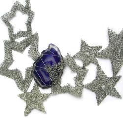 agat,szydełko,pleciony,gwiazdy,elegancki - Naszyjniki - Biżuteria