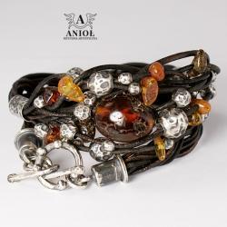 bransoleta damska,bursztyn,srebrna biżuteria - Bransoletki - Biżuteria