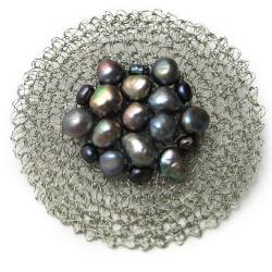 broszka,szydełko,elegancka,koronkowa,perły - Broszki - Biżuteria