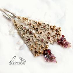 srebrne kolczyki,kwiatowe,złocone - Kolczyki - Biżuteria