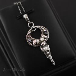 wirewrapping,syrena,marmaid,perły,srebro,swarovski - Naszyjniki - Biżuteria