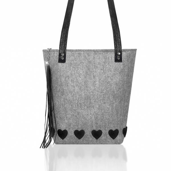 c0ff48c768525 torba z filcu na ramię z serduszkami,torba filcowa - Na ramię ...
