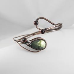 bransoletka,zielona,labradoryt,granat,miedź - Bransoletki - Biżuteria
