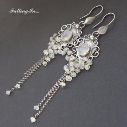 kolczyki,romantyczne,z kamieniem księżycowym, - Kolczyki - Biżuteria