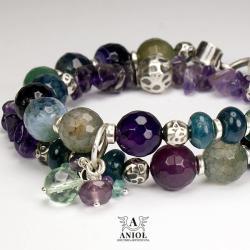 bransoleta,biżuteria damska,ametyst,agat - Bransoletki - Biżuteria