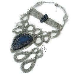 agat,szydełko,kolia,elegancja,koronka - Komplety - Biżuteria