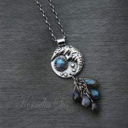 srebrny,wisior,z księżycem,z labradorytem - Wisiory - Biżuteria