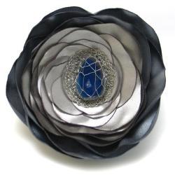 broszka,kwiat,agat,szara,srebrzysta,elegancka - Broszki - Biżuteria