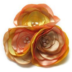 broszka,romantyczna,satyna,perły,bukiet - Broszki - Biżuteria
