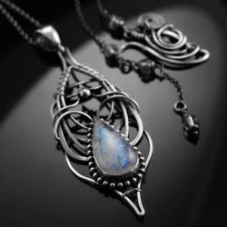 ekskluzywny,naszyjnik,srebrny,kamień księżycowy - Naszyjniki - Biżuteria
