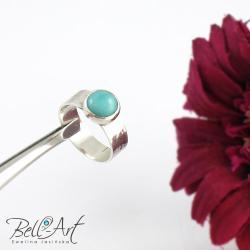 amazonit,klasyczny,elegancki, - Pierścionki - Biżuteria