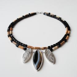 etniczny,nitza,onyks, - Naszyjniki - Biżuteria