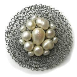 broszka,elegancka,perły,geometryszna,klasyczna - Broszki - Biżuteria