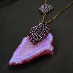 agat,liść,pleciony - Naszyjniki - Biżuteria