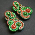 Kolczyki kolczyki z sutaszu,zielono-pomarańczowe kolczyki