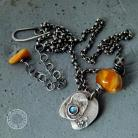 Naszyjniki srebro,bursztyn,surowy,oksydowany,minimalizm