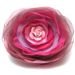 broszka,satyna,zwiewna,róża,różowa,romantyczn - Broszki - Biżuteria