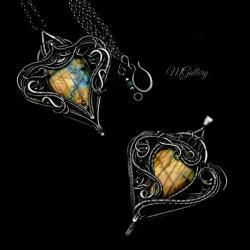 Niezwykły dwustronny srebrny wisior z labradorytem - Wisiory - Biżuteria