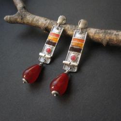 fiann,kolczyki z emalią,jadeit,art clay - Kolczyki - Biżuteria