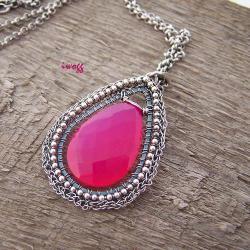 koronki,srebro,iwogg,hot pink,wisior - Wisiory - Biżuteria