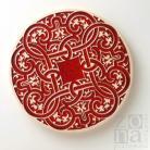 Ceramika i szkło patera,czerwień,ornament,ceramika użytkowa