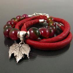 barwna z liściem - Bransoletki - Biżuteria