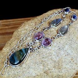 romantyczny naszyjnik z labradorytem z kamieniami - Naszyjniki - Biżuteria
